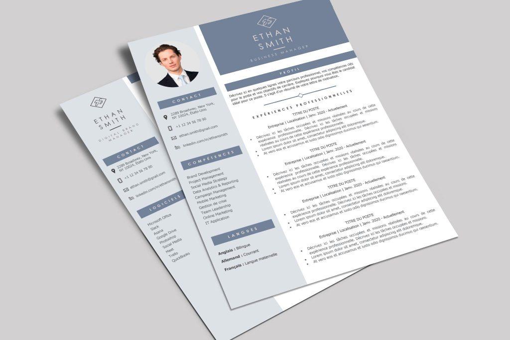 Modèle de CV Dubaï Bleu