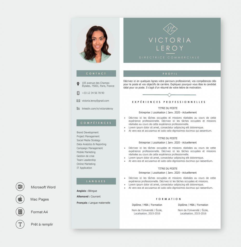 Modèle de CV Dubaï Vert