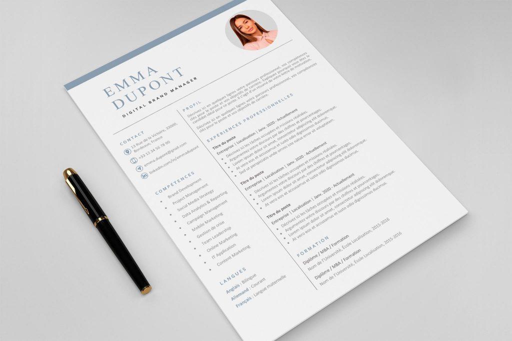 Modèle de CV Helsinki Bleu
