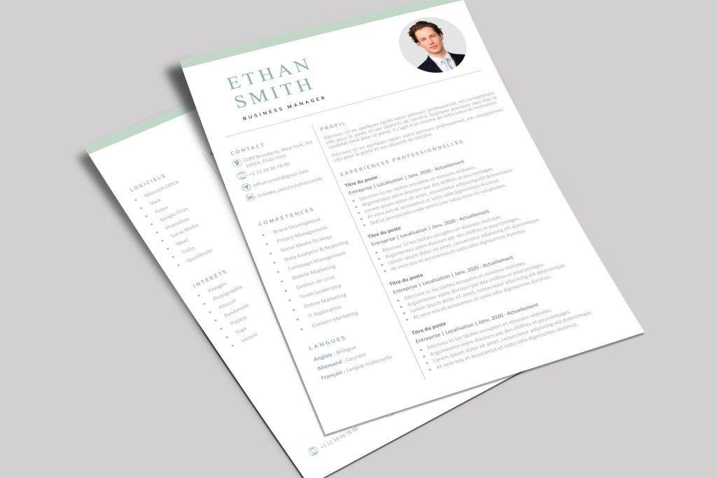 Modèle de CV Helsinki Vert