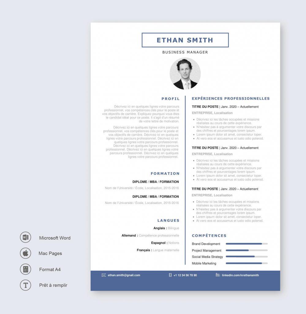 Modèle de CV Oslo Bleu